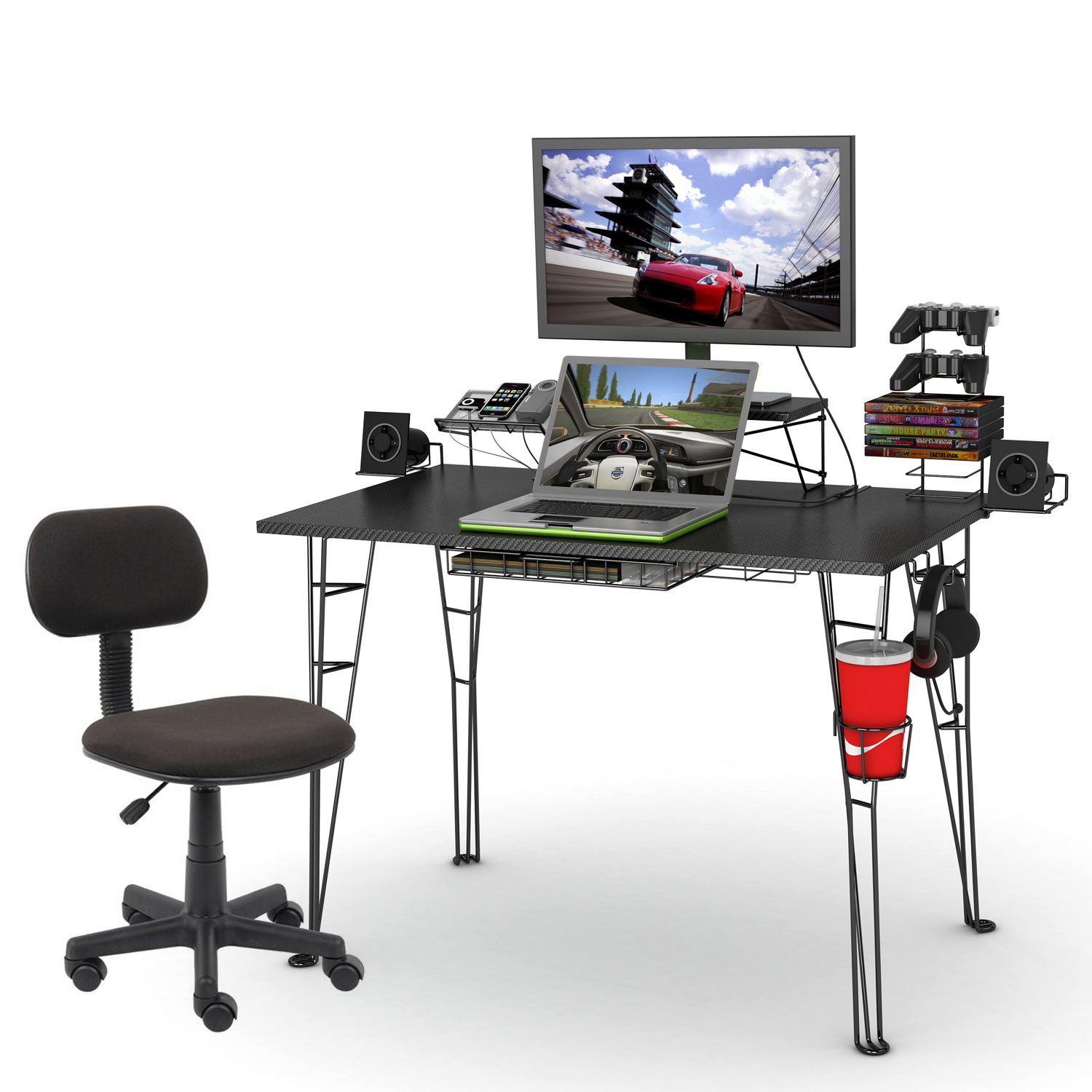 atlantic gaming desk and task chair. Black Bedroom Furniture Sets. Home Design Ideas