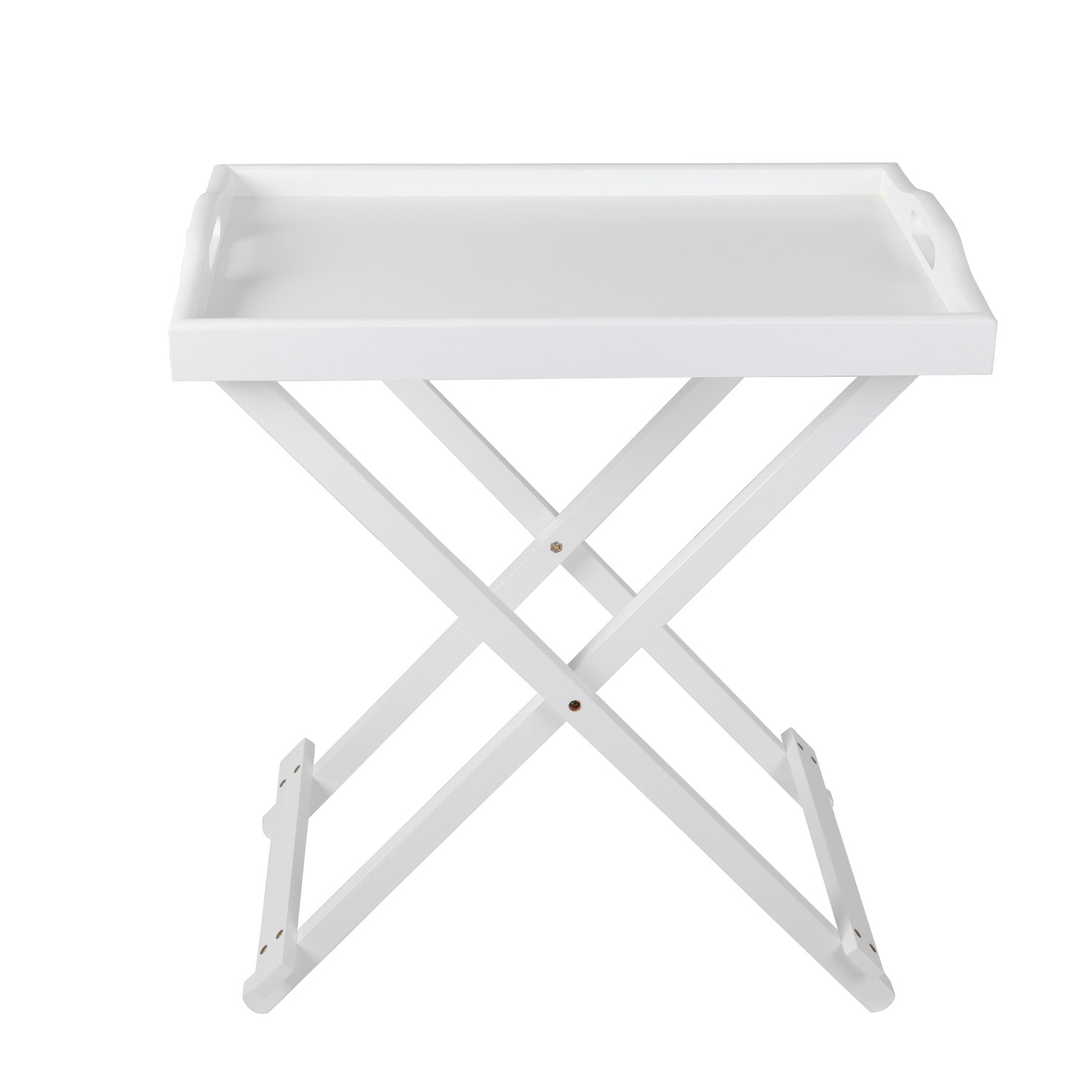 Serving Tray Side Table With Handle In White