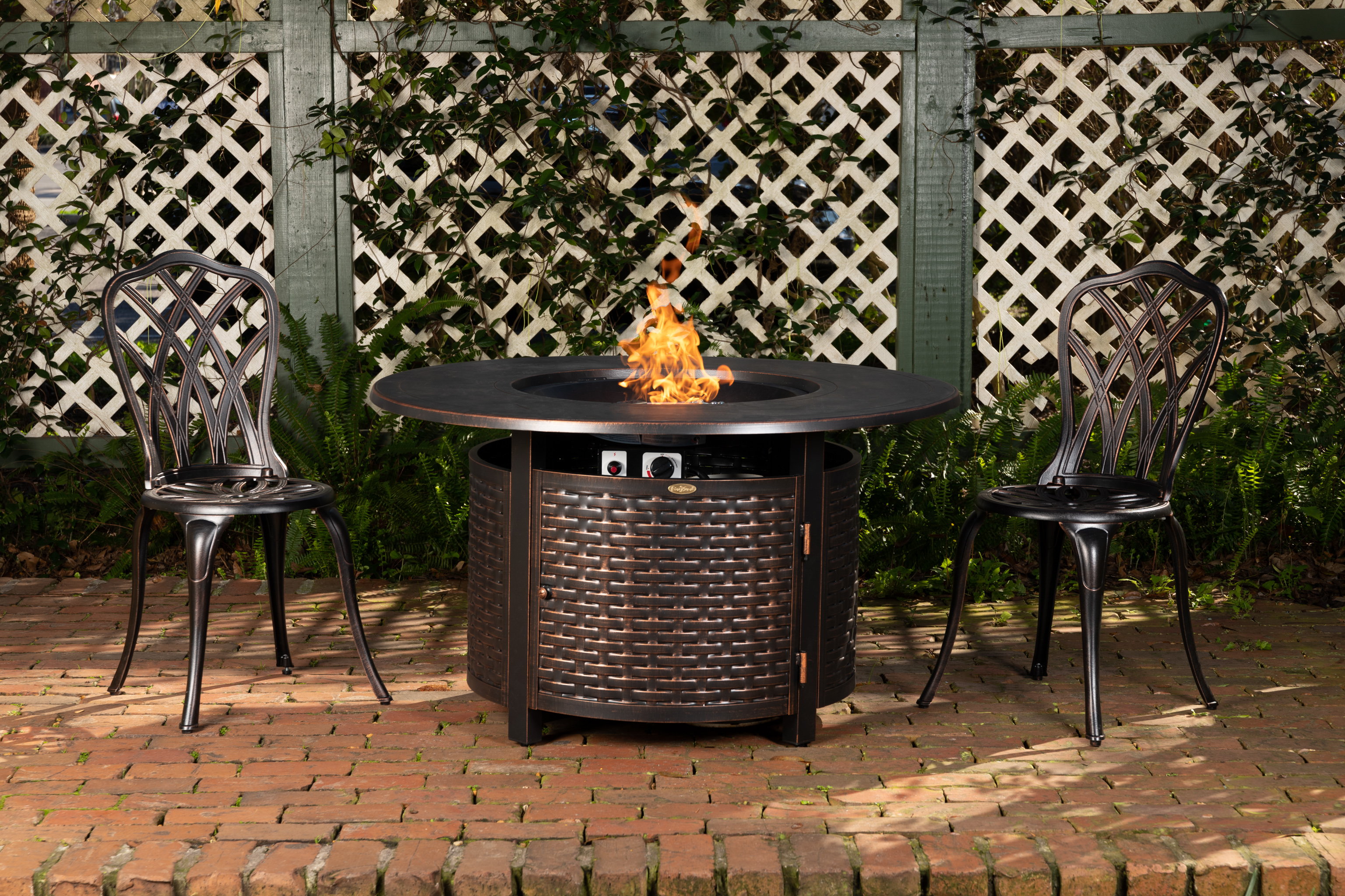 Florence Woven Round Aluminum LPG Fire Pit