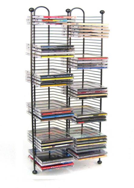 Nestable 100 cd tower gunmetal color w metal balls - Cd storage rack tower ...