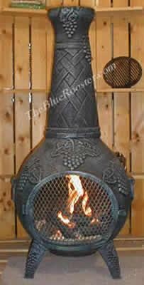 Grape Chiminea Outdoor Fireplace W Gas