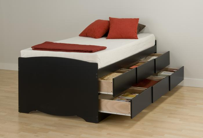 black tall twin captain 39 s platform storage bed with 6 drawers. Black Bedroom Furniture Sets. Home Design Ideas