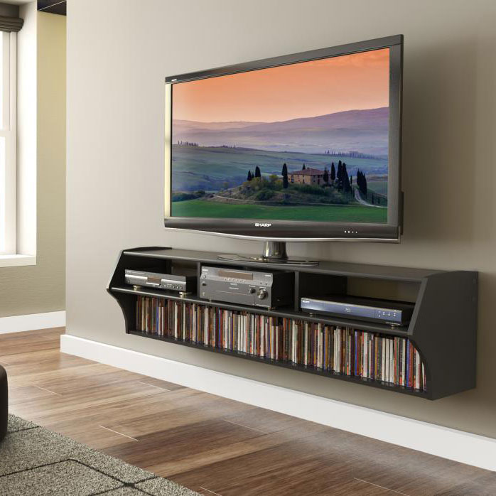 Black Altus Plus 58 Inch Floating Tv Stand