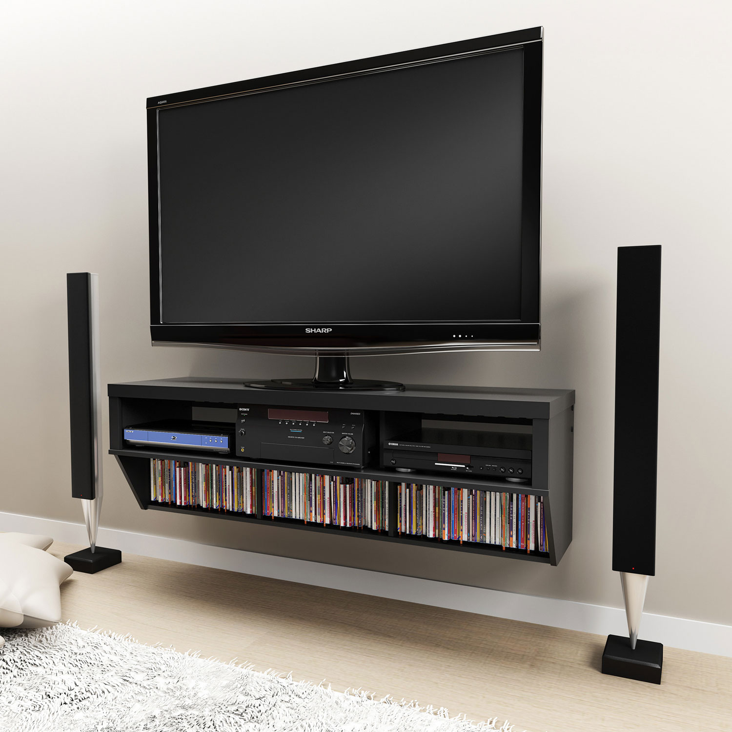 Black 58 Wide Wall Mounted AV Console - Entertainment Center, TV Stands,  Entertainment Furniture - Wall Mounted Entertainment Unit Cymun Designs