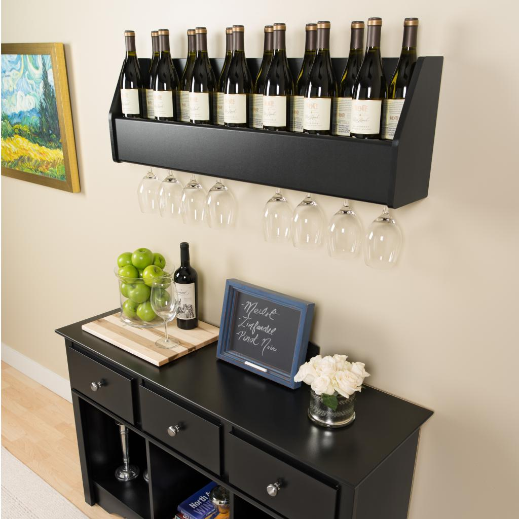 floating wine rack in black prepac bsow 0200 1. Black Bedroom Furniture Sets. Home Design Ideas