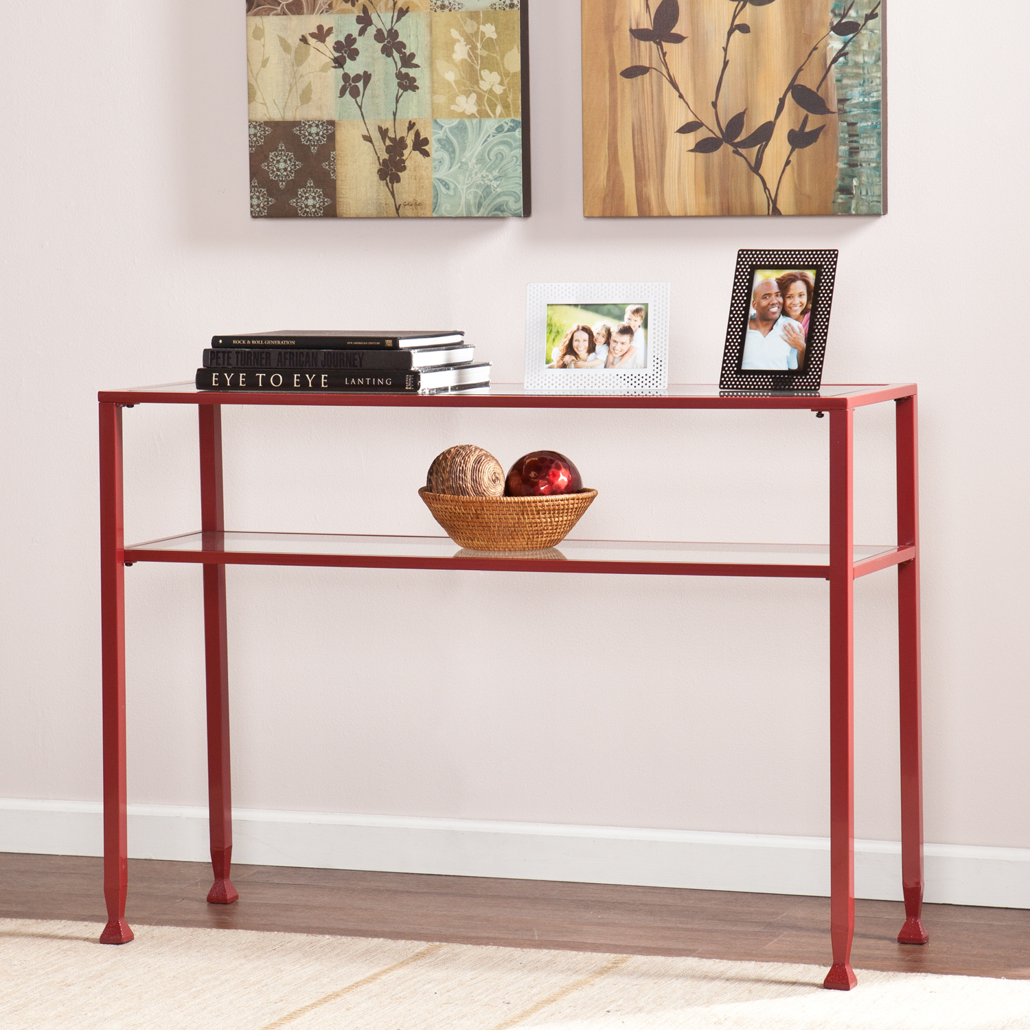 Metal glass console table red for Metal and glass console tables