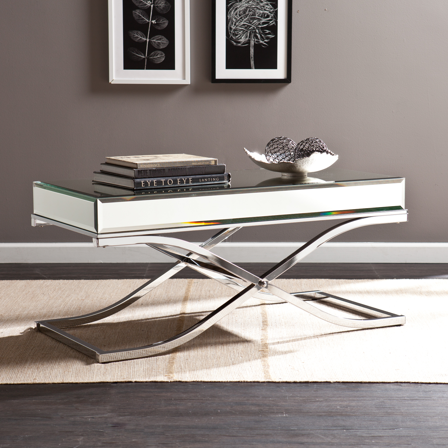 Lovely Mirrored Tail Table Chrome
