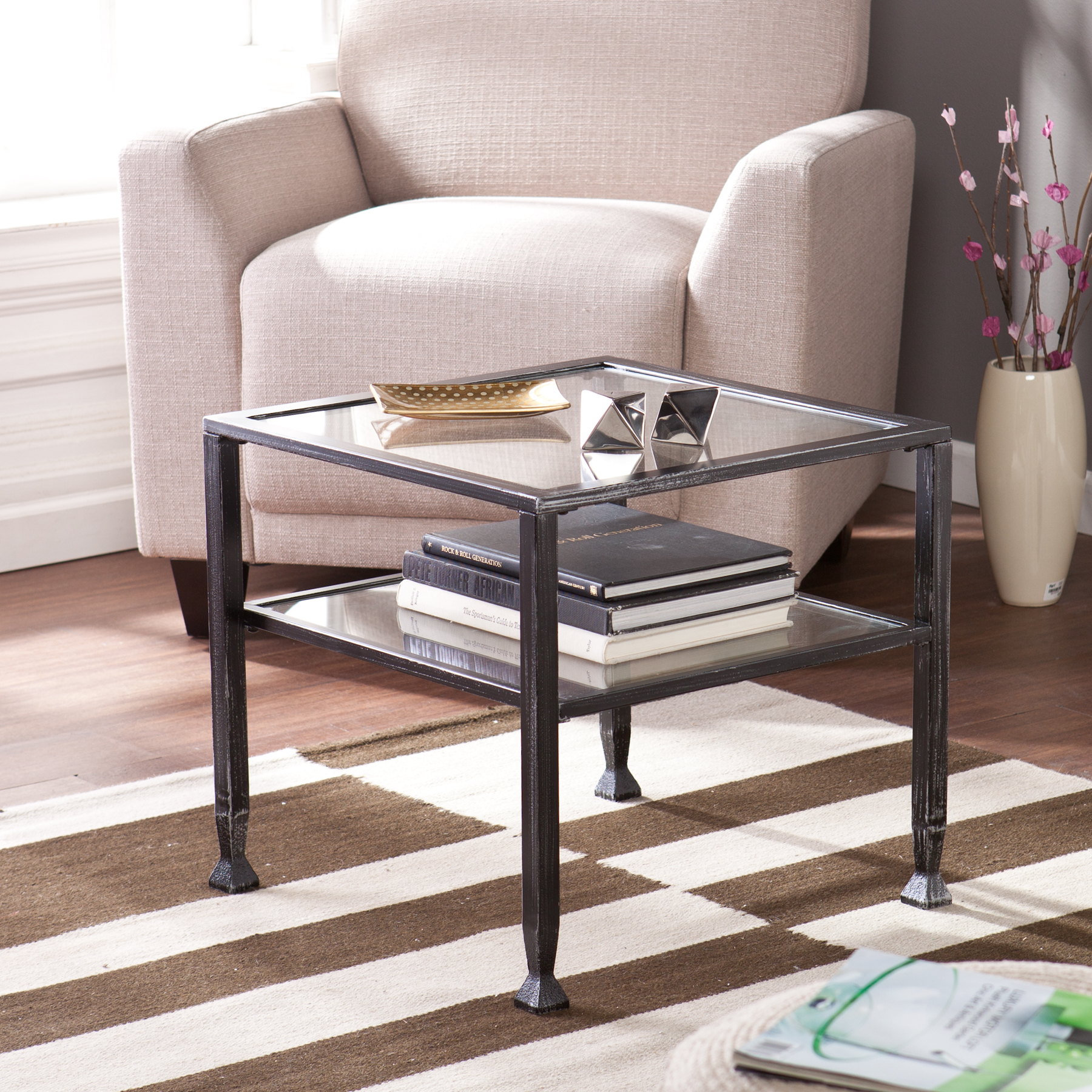 Glass And Metal Square Coffee Table In Black W 80cm: Metal/Glass Bunching Cocktail Table