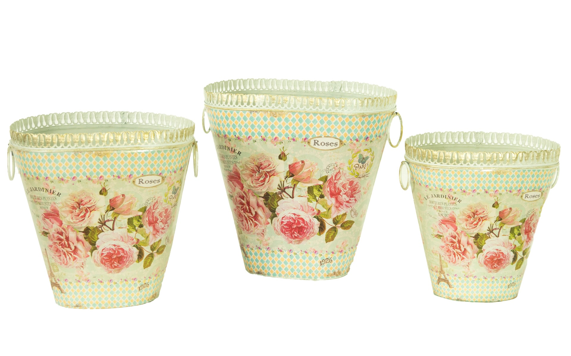 French Country Planters Vintage Metal Decorative Vases Flower Pots Set Of 3