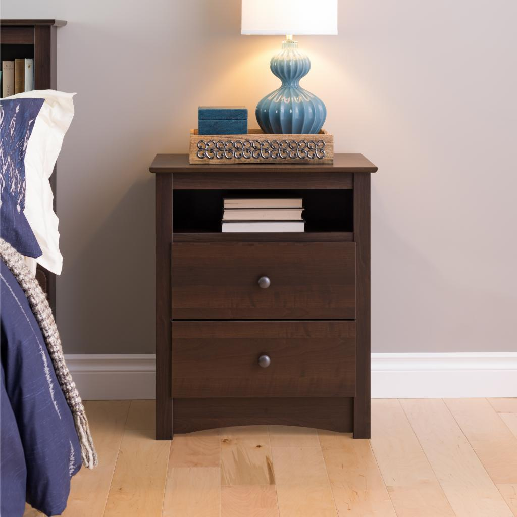 Espresso Fremont Tall Drawer Nightstand Open Shelf