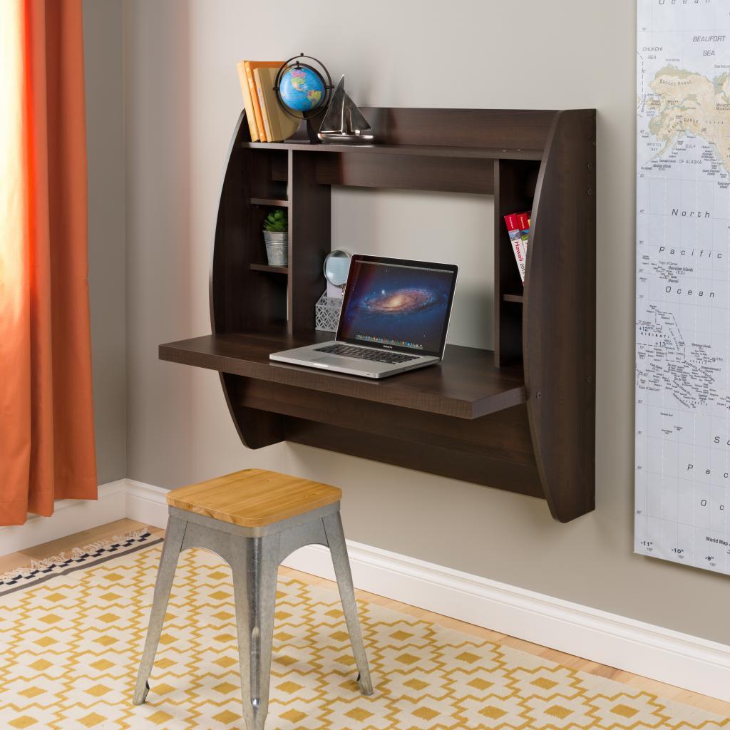 Espresso floating desk with storage - Floating office desk ...