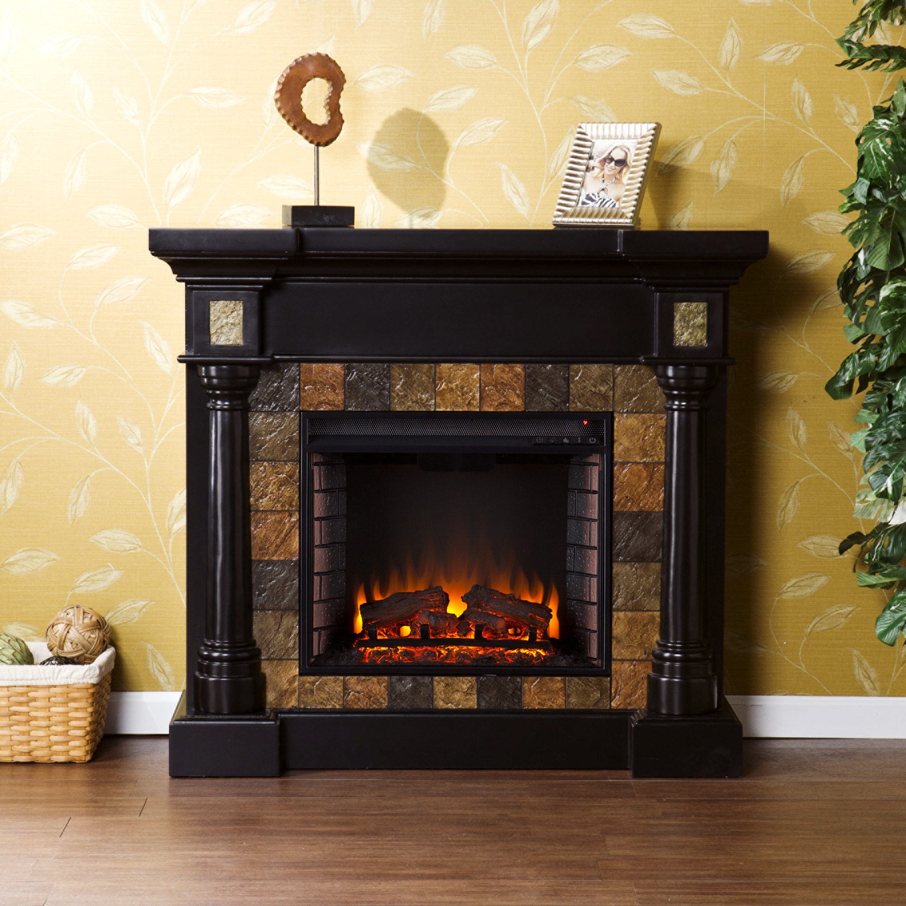 Faux Slate Convertible Electric Fireplace - Blac