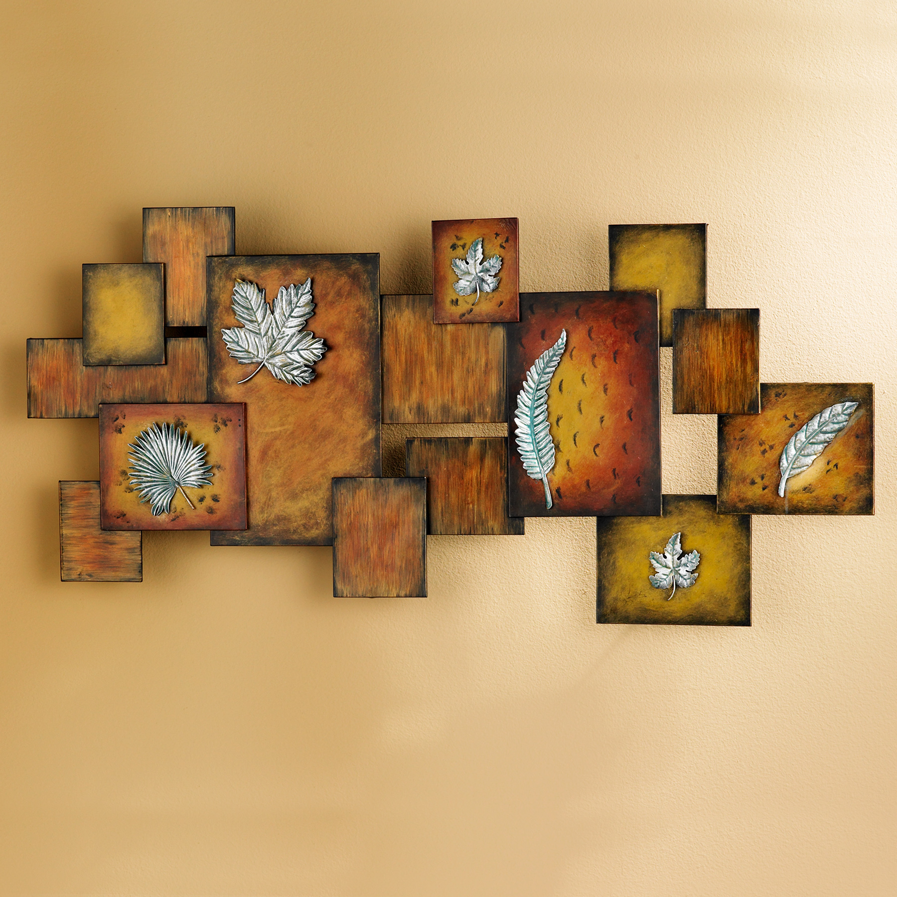 Home Artwork Decor: Leaves / Abstract Wall Art Panel
