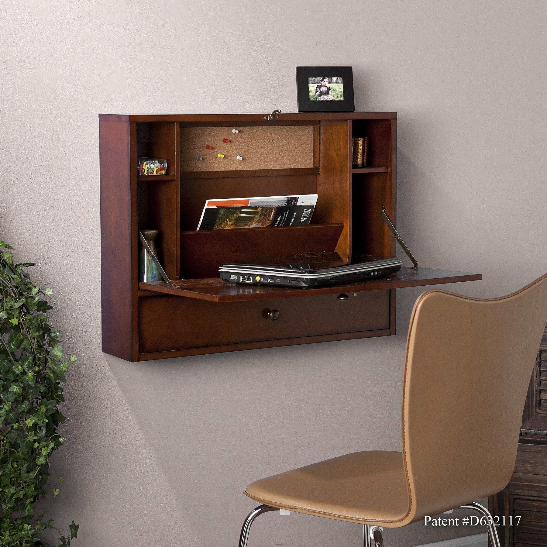 wall mount laptop desk brown mahogany. Black Bedroom Furniture Sets. Home Design Ideas