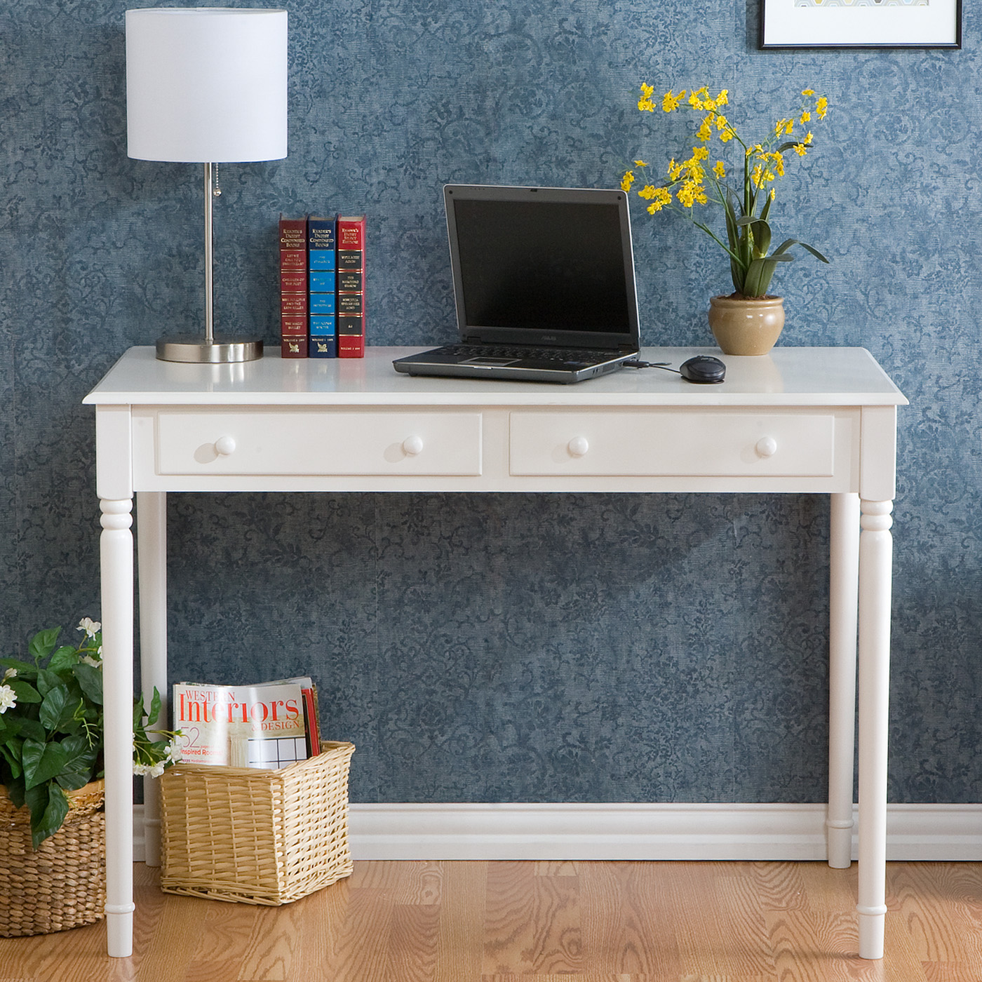 writing 2drawer desk  crisp white