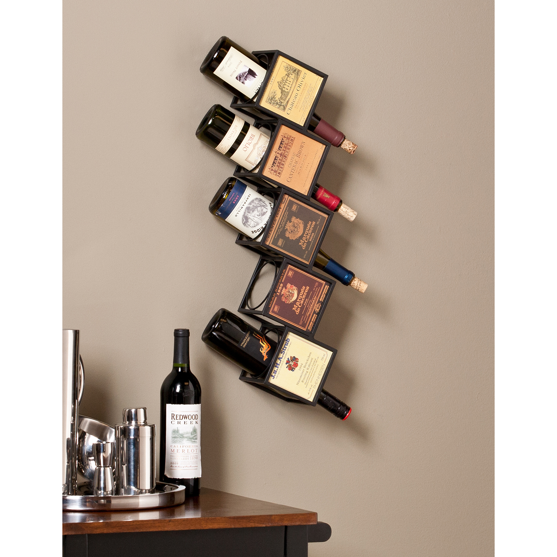 evora wall mount wine rack