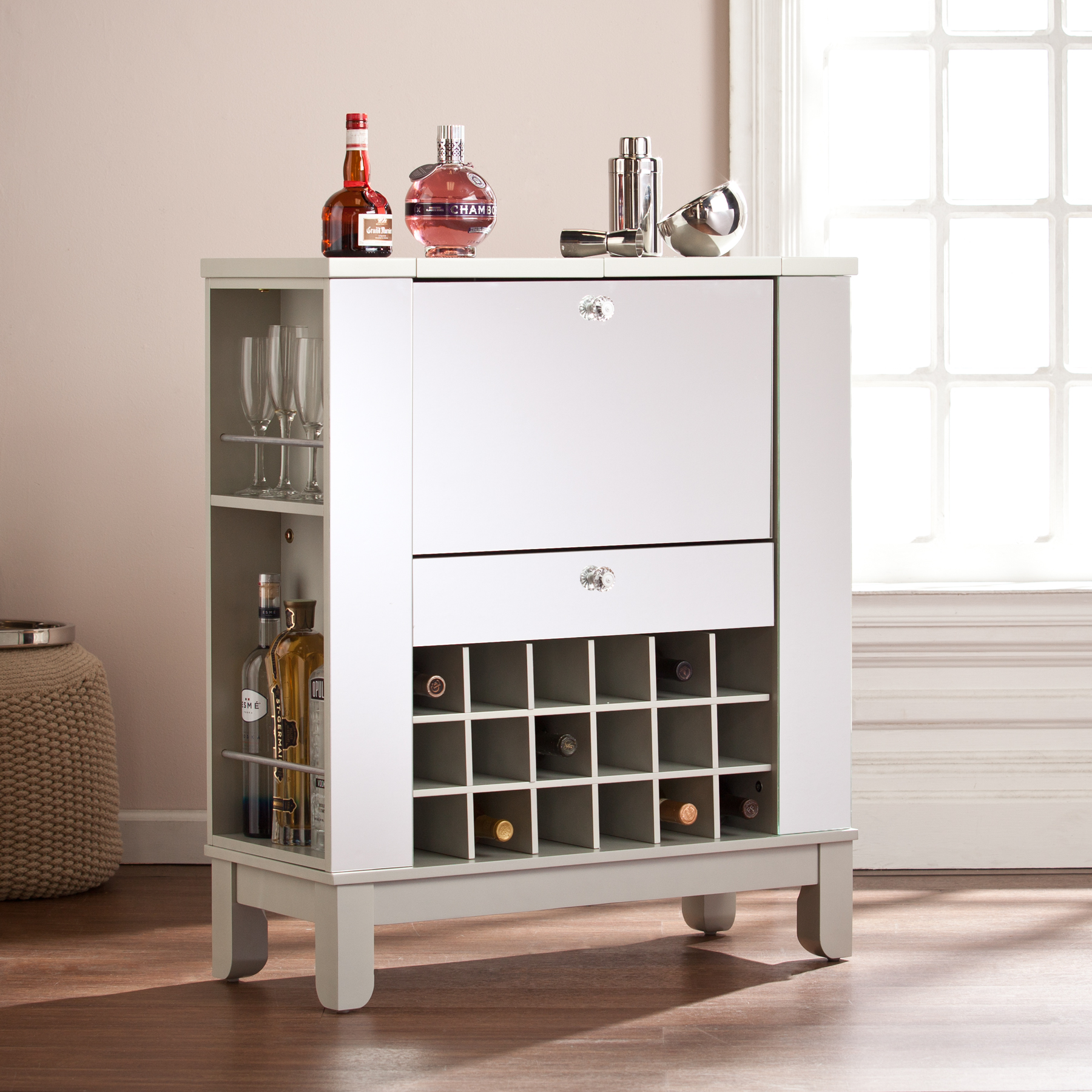 Best Mirage Mirrored Fold-Out Wine/Bar Cabinet TB41