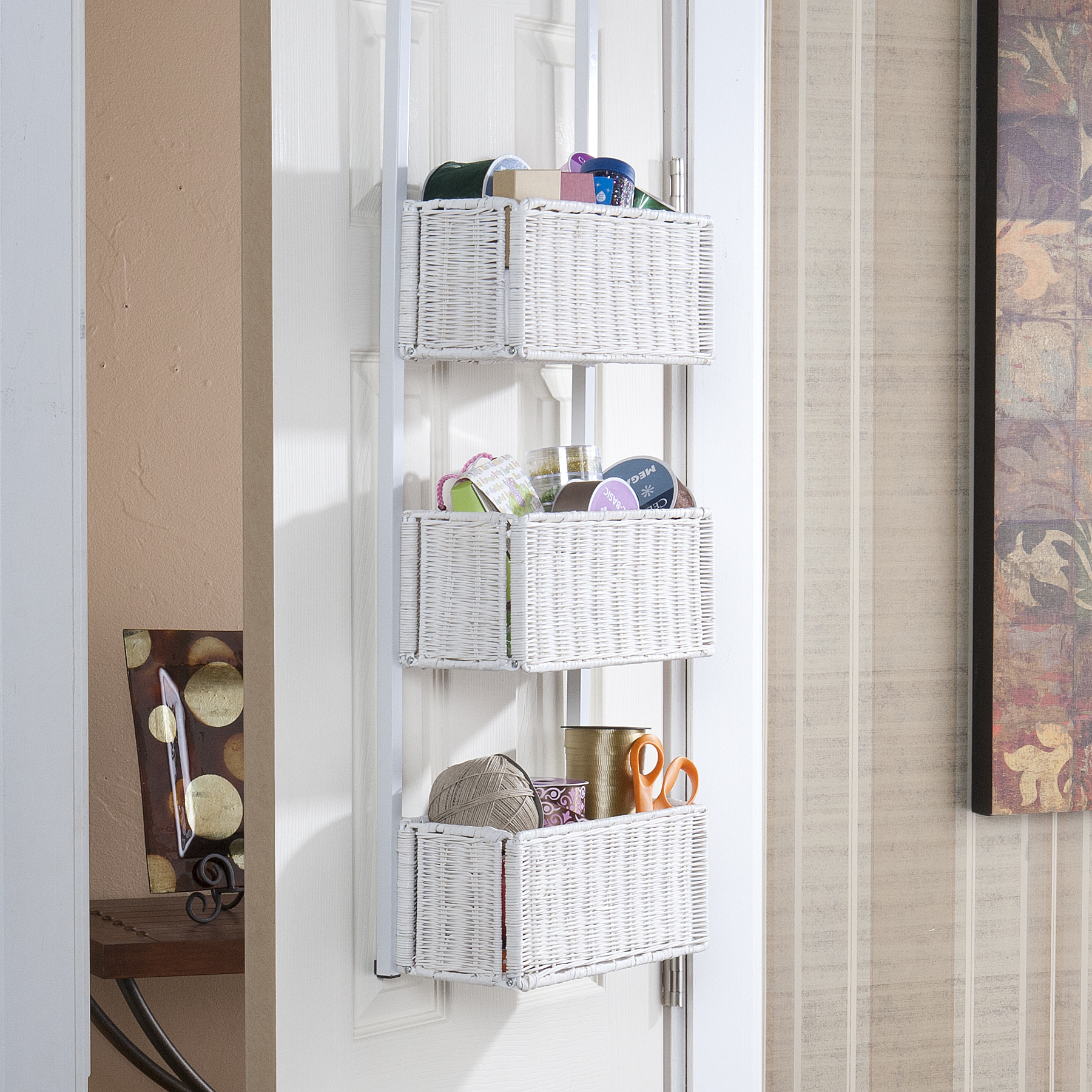 Over The Door 3 Tier Basket Storage White