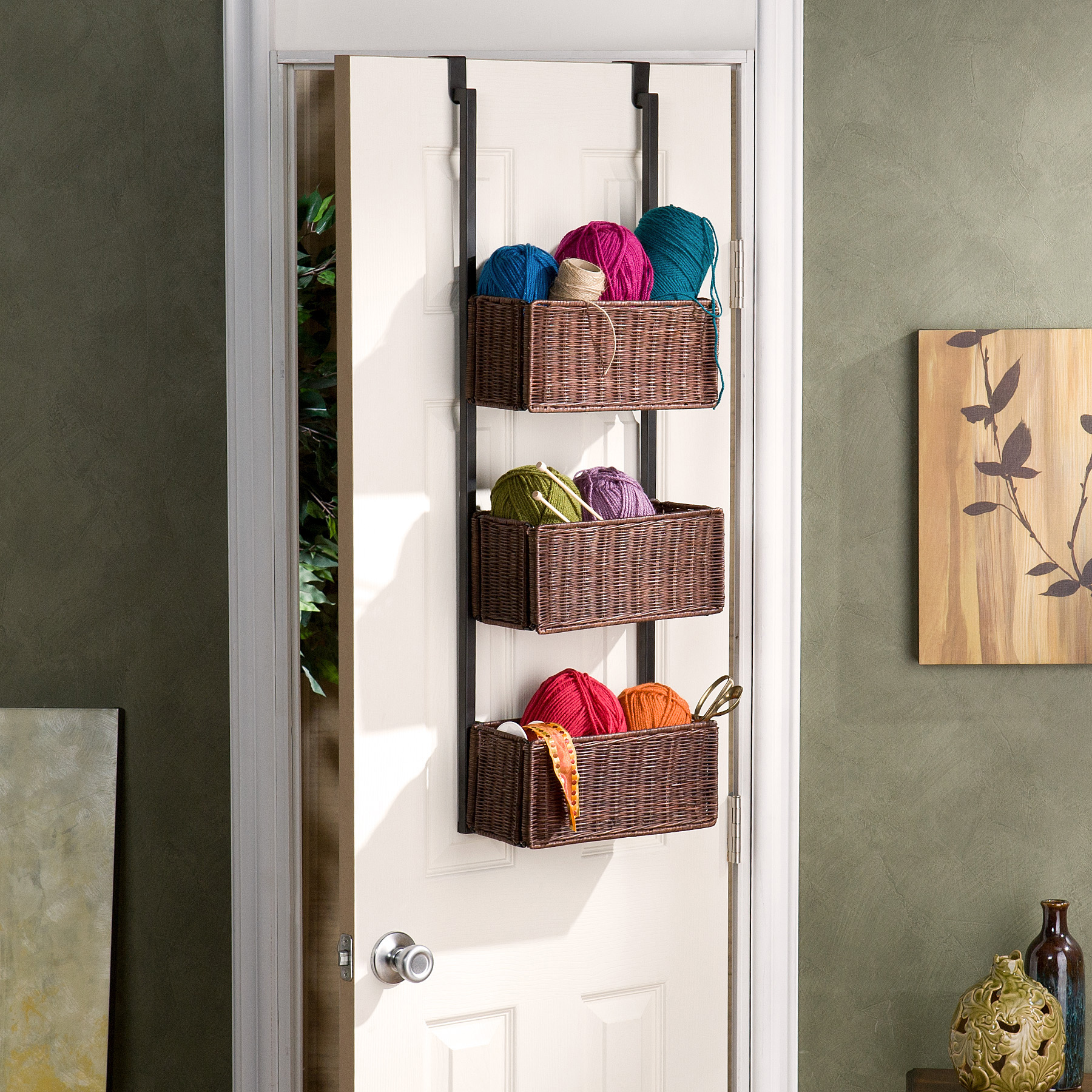 Over The Door 3 Tier Basket Storage   Espresso W/ Black