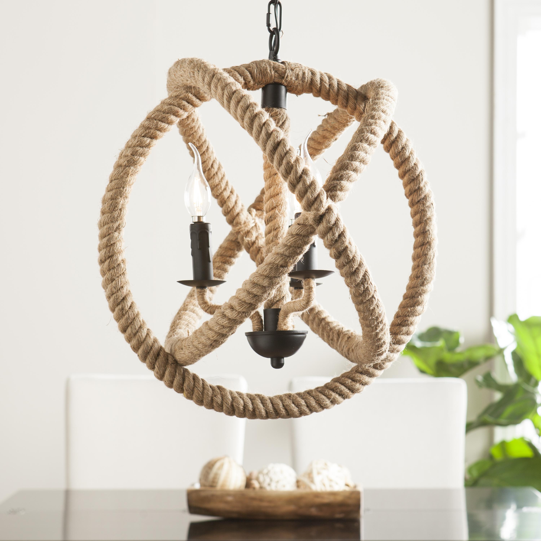 Mayberly 3-Light Rope Orb Pendant Lamp