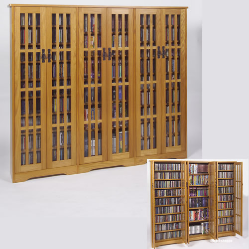 Triple Wide Mission Media Storage, Dvd Storage With Doors