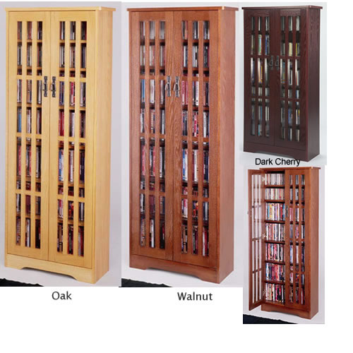 Mission Style Multimedia Storage Cabinet, Dvd Storage With Doors