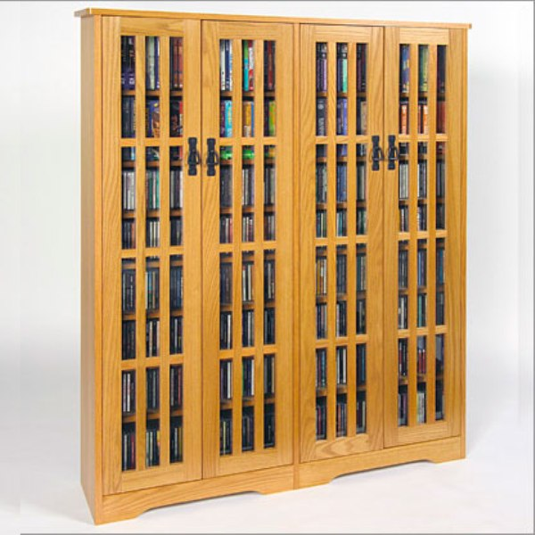 Double Wide, Tall Mission Media Cabinet, Solid Oak Veneer, Glass Doors