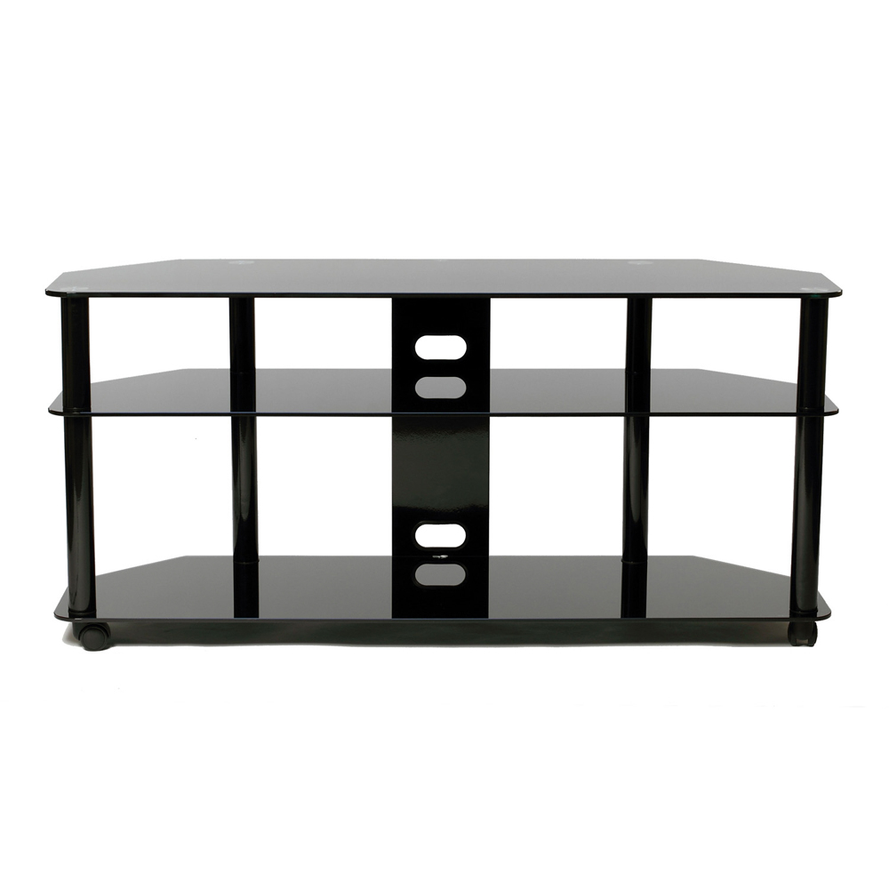 Versatile Gloss Black Plasma/LCD TV Stand With Casters For Up To 60
