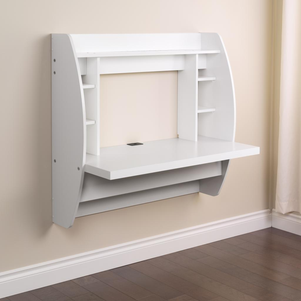White Floating Desk With Storage Prepac Wehw 0200 1