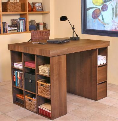 Project Center With Bookcase & 3 Bin Cabinet walnut