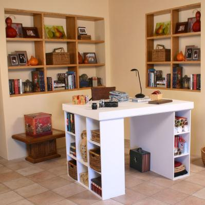 Project Center With Bookcase & 3 Bin Cabinet white