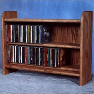 Solid Oak 2 Shelf Cd Cabinet