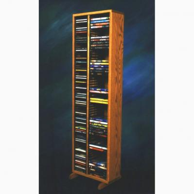Solid Oak Tower For Cd'S And DVD'S (Individual Locking Slots)