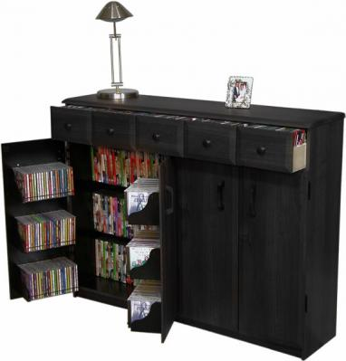 Media Cabinet with Drawers black