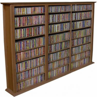 Media Storage Tower-Regular Triple walnut