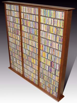 Media Storage Tower-Tall Triple walnut