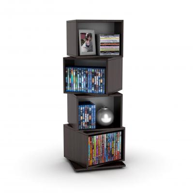 Rotating Cube 216 Disc Media Tower In Espresso