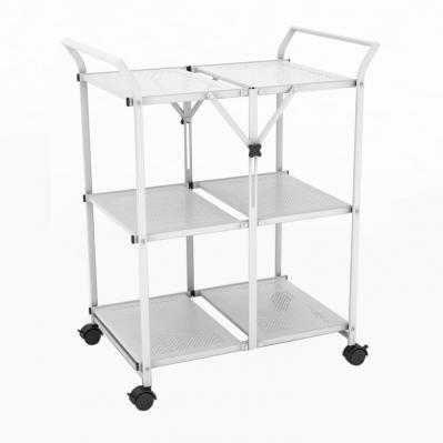 3 Shelf Folding Cart With Handle In White