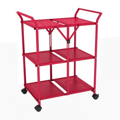 3 Shelf Folding Cart With Handle In Red
