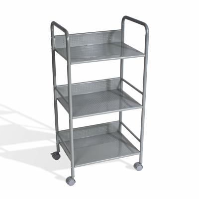 3 Tier Shelving Cart With Casters In Moon Mist