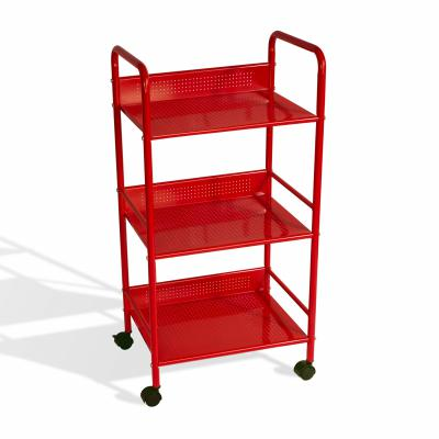 3 Tier Shelving Cart With Casters In Red