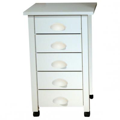 5-Drawer Mobile Cart white