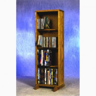 Solid Oak 4 Row Dowel DVD Cabinet Tower