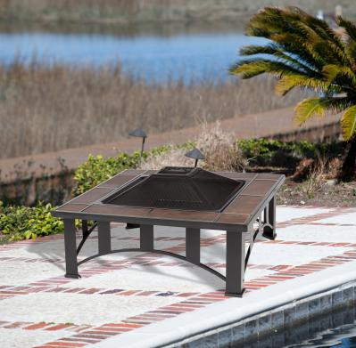Tuscan Tile Mission Style Square Fire Pit
