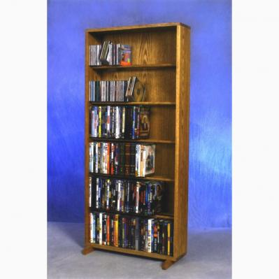 Solid Oak 6 Row Dowel DVD Cabinet Tower