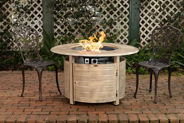 Thatcher Driftwood Round Aluminum LPG Fire Pit