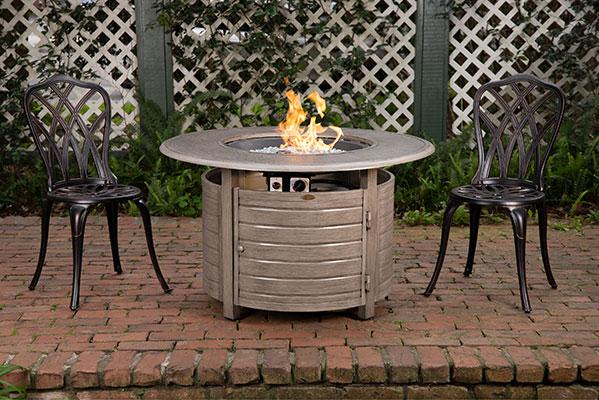 Thatcher Barnwood Round Aluminum LPG Fire Pit