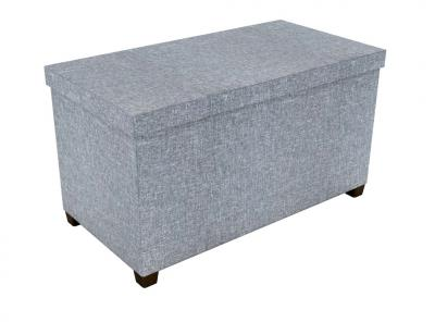 Storage Ottoman With Wooden Feet 17X34 In Light Gray