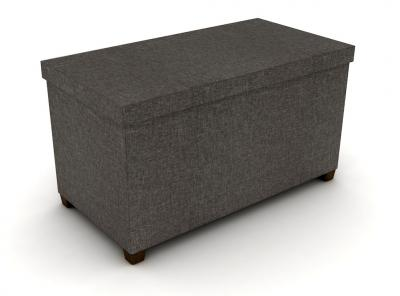 Storage Ottoman With Wooden Feet 17X34 In Brown