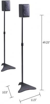 Atlantic Satellite Adjustable Height Speaker Stands 2 pack Black